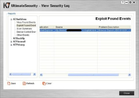 K7 Ultimate security result