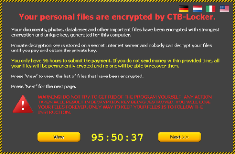 CTB Locker Encrypted File message